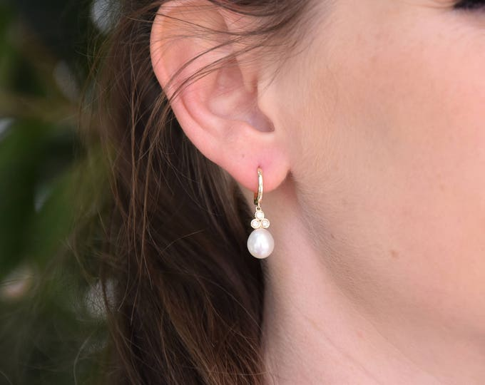 Freshwater Pearl Earrings-14 K Yellow Gold-Bridal Earrings-Pearl dangle earrings-Pearl drop earrings-Diamond & Pearl-anniversary gift