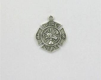 Sterling Silver Fireman's Cross Charm