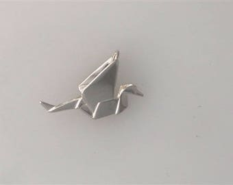 """Sterling Silver 1"""" 3-D Origami Crane Charm"""
