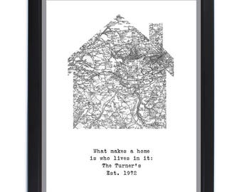 Personalised Home Map Framed Print