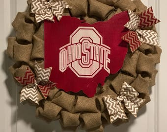 CPM Ohio State Wreath Natural burlap, red and white chevron ribbon