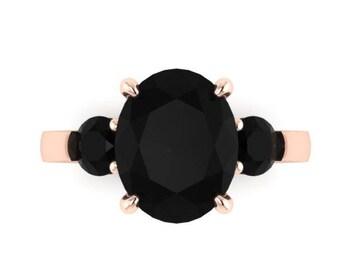 Oval Genuine Black Diamond Engagement Ring 14k Rose Gold Three-Stone Wedding Ring Black Diamond Bridal Jewelry Unique Marriage Ring  - V1164