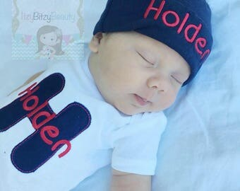 Personalized Coming Home Outfit - Baby Boys Outfit - Navy And Red - Monogrammed Outfit - Embroidered Hat