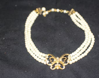 Costume Pearl and Butterfly Necklace