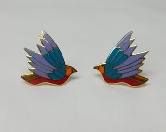 Vintage Laurel Burch Celeste Birds Cloisonne Clip On Earrings Signed Jewelry Purple Blue Red Exotic Birds Gold Tone Metal Wing Flying