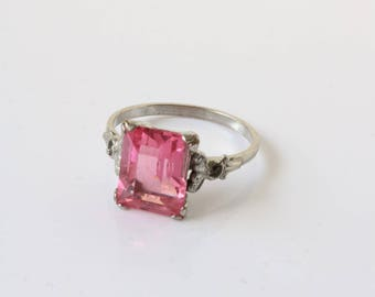 Vintage Silver Ring - Pink Stone Ring - Square Crystal Ring - Pink Ring - Size 6.5 Ring For Women