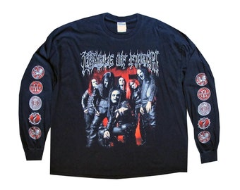 Cradle of Filth Black Long Sleeve T-Shirt XXL Black Metal UK Dani Filth Vempire Erotica Band Tee