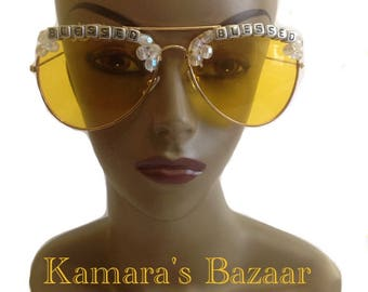 Yellow Aviator Sunglasses// Blessed Sunglasses