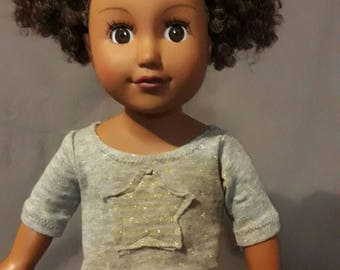 Grey and gold shirt for 18 inch dolls