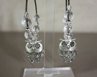 Hoop OWL pendant and faceted beads