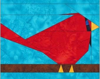 HC Cardinal Bird 10 Inch Paper Piece Foundation Quilting Block Pattern PDF