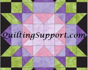 Rebecca's Flower 10 Inch Paper Piece Foundation Quilting Block Pattern PDF