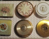 Hold/ Fab Mod M-O- Pearl LUCITE  & Plastic Powder Compact Lot ~Vintage Vanity Case Duo  ~1950s Retro Chic Compacts ~4 for 1 Only!