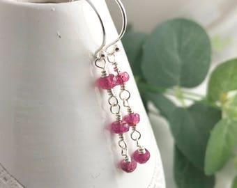 Ruby earrings, July birthstone earrings, ruby drop earrings, birthstone earrings, sterling silver, gift for her, gift for wife
