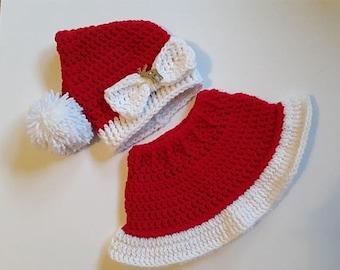 Clearance Mrs. Claus' Santa Hat & Skirt Set for Newborns / Christmas Photo Prop / Santa Photo Prop / Christmas Baby Set