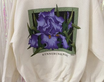 Kennebunkport purple flower cream sweater jumper