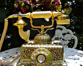 Vintage French Telephone, Antique Telephone, Brass Telephone, Antique French Decor, Ornate Brass