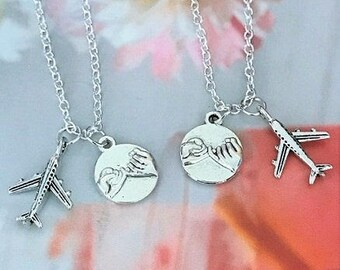 SALE - Set of 2 Pinky Promise Necklace, Airplane Necklaces, Bff necklace, Friendship Necklace, Sister, Christmas Gift.