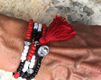 beaded Necklace / wrap bracelet seed bead necklace seed bead wrap bracelet school colors color block  Game Day jewelry black white red beads