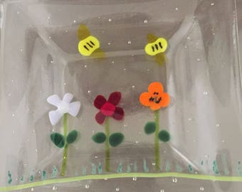 Fused glass spring dish with flowers and bumble bees, ring dish, change dish, soap dish or spoon rest.