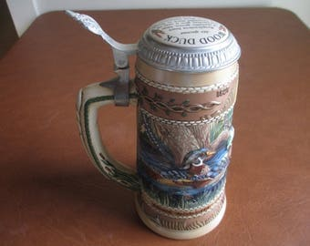 "Budweiser Stein - The Waterfowl Series - Beer Steins - 1987 - North Carolina - 9"" High - Collectible - Check Our Collection! Great Gift Idea"