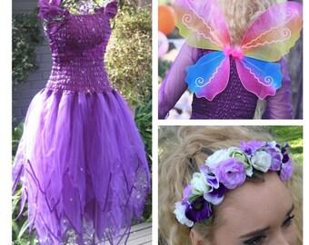 Woman's  Halloween Party Fairy  Costume ~Wings Flower Headband ~ Masquerade Ball ~ Burlesque ~ Festival ~Theatre ~ Dance ~ Ballet