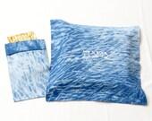 "Matzoh cover & Afikomen bag set- 13""x13""  - Passover gift,  Indigo Shibori, passover embroidery, Modern Judaica, Hand dyed No.12"