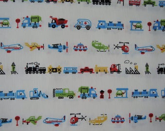 "Half Yard of D's Selection Blue Cars Vehicles Trucks by Daiwabo Fabric on Off White Background. Approx.18"" x 44"" Made in Japan"