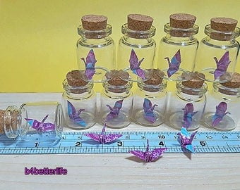 Lot Of 10pcs 1-inch Hand-folded Paper Crane In Mini Glass Bottle With Cork. (WR paper series). #CIB10e.