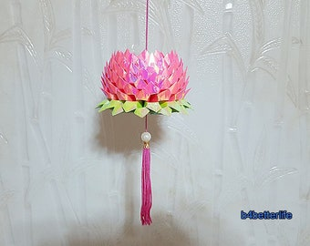 A Piece of Large Size Pink Color Origami Hanging Lotus. 132 petals. (AV paper series).
