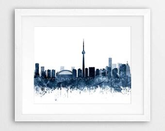 Toronto Skyline Print, Toronto Watercolor Navy Blue, Toronto Canada Cityscape, Modern Wall Art, Home Decor, Travel Poster, Printable Art