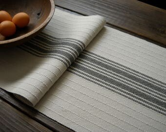 Gray Farmhouse Table Runner   Hand Woven Pale Stone Gray, Charcoal Striped  Cotton Runner