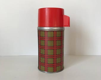 Vintage Thermos Bottle * Aladdin * Tartan Plaid * Camping * Red * Black * Yellow * Thermos * Picnic Thermos