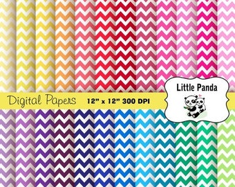 80% OFF SALE Rainbow Chevron Digital Scrapbooking Papers 24 jpg files 12 x 12 - Instant Download - D193