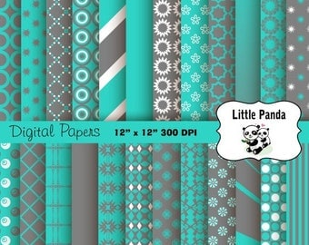 70% OFF SALE Gray and Turquoise Digital Paper Pack, Scrapbook Papers, 24 jpg files 12 x 12  - Instant Download - D213