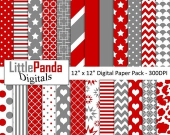 70% OFF SALE Red and gray digital paper, scrapbook papers, wallpaper, background, commercial use - D460