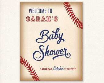 Baseball Baby Shower Welcome Sign - Personalized Welcome Sign - Baseball Baby Shower Welcome Sign