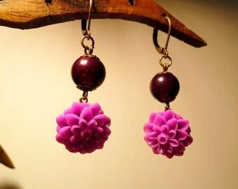 Earrings Fuchsia dahlias