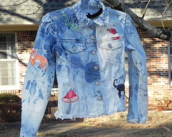 Distressed and Embroidered denim jacket (small)