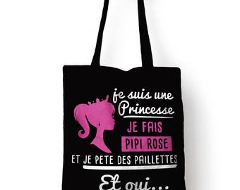 "Tote bag, of course black bag ""I'm a Princess"""