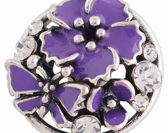 KC8815 ~ 3D Purple Enameled Flowers with Butterfly Set off with Clear Crystals