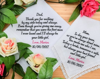 Personalized Handkerchiefs. Wedding Hankies. Mother and Father of the Bride Handkerchiefs. Embroidered Handkerchiefs Gift / Custom Set of 2