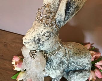 Distressed Antiqued Rabbit Sculpture Faux Taxidermy Bunny Embellished Rhinestone Crown Animal Country Cottage Farmhouse French Nordic Decor