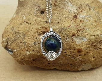 Small rare Azurite pendant. Crystal Reiki jewelry uk. Wire wrapped frame necklace. 10mm stone