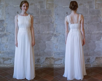 bohemian wedding dress grecian wedding dress simple chiffon wedding dress beach wedding dress