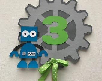 Robot themed cake topper, Robot themed birthday cake decorations, Robot themed party decorations, Robot themed cake decorations