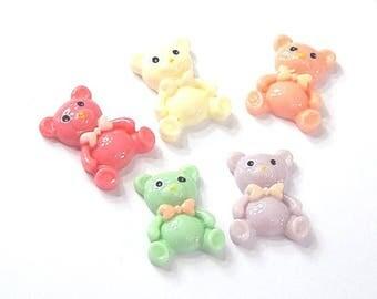 5 cabochons kids teddy bears multicolor resin 24x19mm