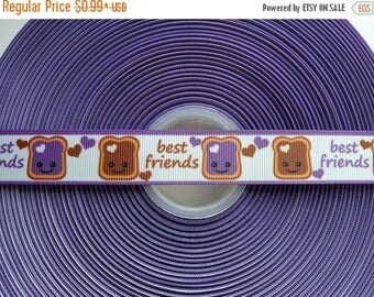 "ON SALE BEST Friends Peanut Butter & Jelly 7/8"" 22mm Grosgrain Hair Bow Craft Ribbon 3235"