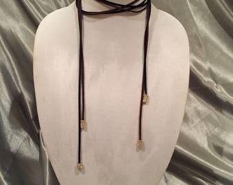 Wrap Choker, Rhinestone Chocker, Simple Choker, Leather Wrap Necklace, Boho Choker, Minimal Jewelry, Bohemian Jewelry