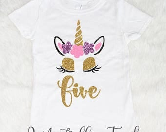 Five Unicorn Birthday Shirt, Birthday Girl Shirt, 5 Year Old Birthday Girl, Birthday Shirts for Girls, Five and Fabulous, 5th Birthday Shirt